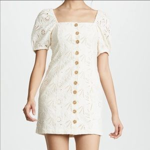 NWOT Free People Daniella Cream Eyelet Mini Dress